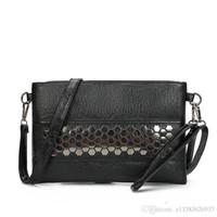 Wholesale Nice Ladies Clutch Bags - Nice Luxury Women Leather Handbags Designer Women Bag Rivet Clutch Bags Messenger Bags Famous Brands Ladies Hand Bags