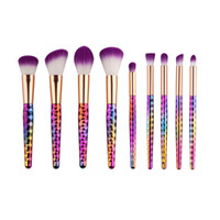 Wholesale Hair Style Collection - 9Pcs set Mermaid Makeup Brushes Set Rainbow Beehive Style Cosmetic Oval Brush Make up Tool Kit Scales Horn Collection DHL Free