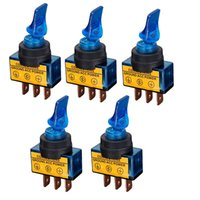 """Wholesale 12vdc Switch - 12VDC 20A Car Boat Marine Two Position ON OFF SPST 0.47"""" Mount Four color Illuminated Flick Toggle Switch 5 Pcs"""