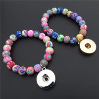 Wholesale Snap Bracelets Kids - Fashion Kids Girls 15CM Length Multicolor Clay Beads Noosa Chunks Metal Ginger 18mm Snap Button Charm Bracelet Jewelry Wholesale