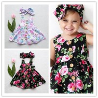 Compra Fasce Di Bambino Dell'annata-2017 Nuova Estate Ins Baby Girl Floral Button Vest Beach Dress Toddler Infant Girl Vintage Flower + Bowknot Fascia due pezzi