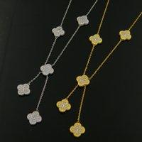 Wholesale Amethyst Fine Jewelry - ashion high quality rhinestone Onyx malachite five flower lover Tassel Necklace clover Fine Jewelry for women gift 45cm