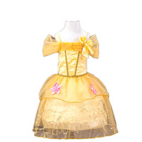 Wholesale Yellow Lantern Cosplay - Princess Girl's Dresses Yellow Cosplay Sleeping Beauty Sofia Rapunzel Cinderella Belle Princess Party Costume Gauze Lace Dress