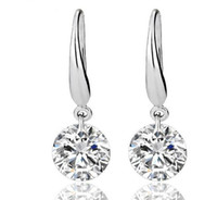 Wholesale Sterling Silver Earrings Gemstones - US GIA certificate 2 ct moissanite engagement earring for women 18K white gold moissanite heart shape gemstone earring for women