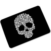 100% Polyester black persian rug - Black White Floral Arts Skull Pattern Area Carpet Rugs Welcome Mats Anti slip Rubber Bathroom Kitchen Floor Mats Decorative