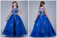 Wholesale Top Dresses Cheap Price - 2017 Royal Blue Girls Pageant Dresses Floor Length Crew Collar Sheer Cheap Price Beaded Sequined Top Organza Sweet Kids Dress For Event