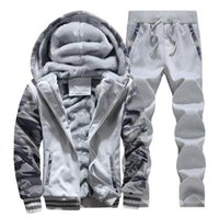 Wholesale Camouflage Jacket Hoody - 2017New Winter Mens Sweat Suits Brand Mens Tracksuit Sets Fleece Zipper Hooded Jacket + Pants Sporting Suit Camouflage Sleeve Hoody