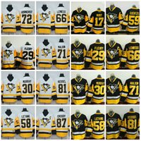 2017 Stanley Cup Champions Pittsburgh Penguins Hockey Jerseys 87 Sidney Crosby 81 Phil Kessel 71 Evgeni Malkin 72 Patric Hornqvist Barato
