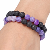 Wholesale Natural Fossil - 10 Styles Lava Rock Beads Bracelets Fashion Natural Wind Fossils Stone Charm Jewelry Punk Cuffs Bangles Volcano White Turquoise Bracelet