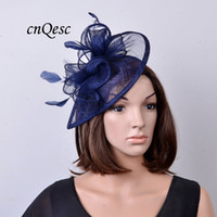 Wholesale Yellow Sinamay - Navy blue sinamay fascinator hat teardrop shape with feathers and loop for races,wedding,Kentucky derby,party