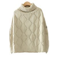 Wholesale Batwing Sweater Knitting Pattern - Wholesale- T-Inside New 2016 Autumn Winter Special Fashion Women Sweater Turtleneck Knitted Pullovers with Side Zippers Geometry Pattern
