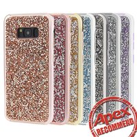 Wholesale Case Cover Silver - Premium bling 2 in 1 Luxury diamond rhinestone glitter back cover phone case For iphone 7 5 6 6s plus Samsung s8 note 8 cases