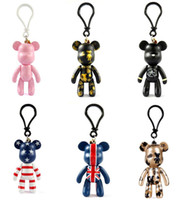 Wholesale Recording Bear Toy - Novelty 3inch POPOBE Bear Keychains Teddy Toy Doll Key Chain Car Keyrings Pendant Lovely Cute Gifts Free shipping