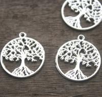 Wholesale Tree Pendants Antique - 15pcs--Tree of life Charms, Antique Tibetan silver 2 sided tree Charm Pendants, Lucky tree 26x29m