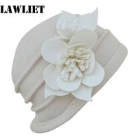 Wholesale Wholesale Felt Wool Womens Hats - Wholesale-A123 Beige Felt Flower trimmed Womens Warmer Wool Beanie Cap Dress Crochet Hat