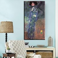 Wholesale Gustav Klimt Pictures - ZZ765 Classic Styles Decorative Painting Gustav Klimt Abstract Art Canvas Oil Painting Print Wall Picture Home Decor Living room