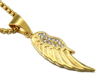 Wholesale Long Diamond Necklace Design - gold long chain necklace designs wholesale free shipping popular stainless steel angel wing pendant necklace with diamonds for men women