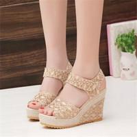 zapatos de mujer de color cuña al por mayor-Sandalias de cuña de mujer de color beige negro sandalias con plataforma de punta abierta zapatos de tacón alto de verano 3376