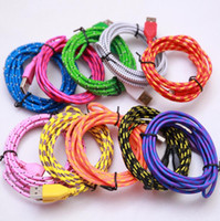 Wholesale Iphone 5s 3m Cable - Free DHL High Quality 100pcs lot 2M 3M Colorful Flat Noodles nylon cable Data Charger Cable Accessory Bundles For iPhone 5 5S 6 6S IOS
