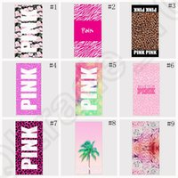 Wholesale Wholesale Pink Beach Towels - Pink Letter Beach Towel 35*75cm Fitness Sports Towel VS Bath Towel Leopard Flower Swimwear Bathroom Towels 22 styles 30pcs OOA1258