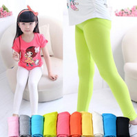 Wholesale Toddler White Tights - girls leggings girl pants new arrive Candy color Toddler classic Leggings children trousers baby kids leggings 12 colors available