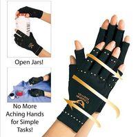 Wholesale Rheumatoid Arthritis - Arthritis Compression Gloves Copper Hands Glove Women Men Health Care Half Finger Ache Pain Rheumatoid Therapy Sports Gloves box package