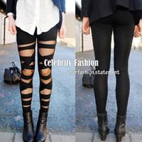 Wholesale Lace Cut Out Leggings - Wholesale- L83 Celebrity Style Women's Cut-out Bandage Lace Leggings Pant Free Drop Shipping
