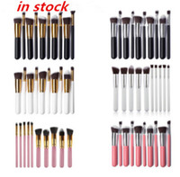 Wholesale Mink Makeup Brushes - 2017 NEW High Quality 10 pcs Maquillage Make up Techniqueing Professional Makeup Brush Set Powder Loose Belt free ship