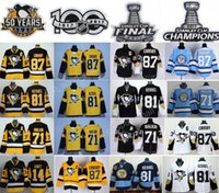 Wholesale Final Gold - 2017 Stanley Cup Final Pittsburgh Penguins 87 Sidney Crosby Jersey 14 Chris Kunitz 71 Evgeni Malkin 81 Phil Kessel 50 Years 100th Champions