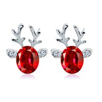 Wholesale Crystal Reindeer - XS Silver Plated Alloy Red Crystal Antlers Earrings Luxurious Stereo Christmas Reindeer Stud Earring Wholesale
