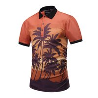 Wholesale Men Tropical Shirts - 2017 new arrival 3d print tropical Style coconut tree poloshirt high quality mens polo shirts summer unique style t-shirt free shipping