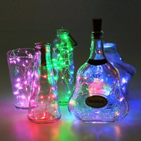 Wholesale Decoration Glass Bottles - 1M 10LEDs 2M 20Led Silver wire Glass Wine LED String Light Cork Shaped Wine Bottle Stopper Light Lamp Christmas Party Decoration