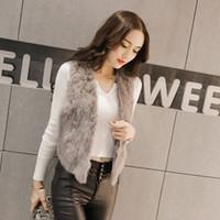 Wholesale Wholesale Rabbit Fur Vest - Fashion V-Neck Vest High-quality rabbit tassel vest short sleeveless vest