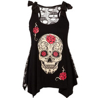 Wholesale Sleeveless Casual Dress Price - Women's Sleeveless Rose Skull Skeleton Printed Mini Dress Lace Mesh See Through Dresses Black   S-XXL   Wholesale Price Mix Order Over $300