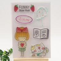 Wholesale Wholesale Kids Sticker Albums - Wholesale- Funny sticker world Transparent Clear Silicone Stamp Seal for DIY scrapbooking photo album Decorative Kids Journal stamp sheet
