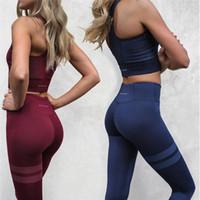 Wholesale Sports Bra Spandex - Women Yoga Fitness Sports Sets Gym Workout Sportswear 2 Pieces Set Tracksuits Bra+Yoga Pants Sport Leggings Suits