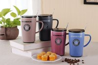 Wholesale Stainless Steel Ceramic Coffee Mugs - Fashion Starbucks simple style Mermaid logo mug ceramics milk coffee cup 550ML with Stainless steel Spoon cover free shipping