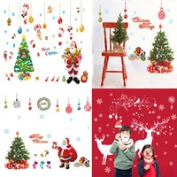 Wholesale removable christmas wall stickers - Christmas Decorations Christmas Tree Santa Claus wallpapers Living Room Bedroom Removable Clear PVC Wall Stickers 60*90CM C3106