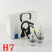 1 Set H7 72W 7600LM C6 LED Headlight 12 / 24V Auto Slim Conversion Kit COB Chip 36W 3800LM Driving Fog Headlamp Bulb Remplacer HID Halogène