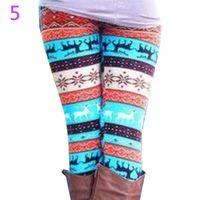 Wholesale Colorful Snowflake Leggings - Wholesale- Snowflake Christmas Deer Leggings Girl Winter Fashion Colorful Knit Cotton Blend Legging For Christmas Hot Women Clothing 7BA1