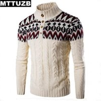 Wholesale Men S Double Breasted Sweaters - Wholesale- MTTUZB Hot sale men fashion printed pullovers men's autumn winter slim sweaters male casual knitted wear man costume tops