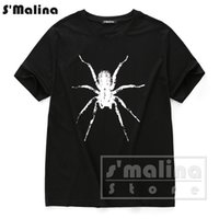 Wholesale Sleeves Spider - 2017 new men's short sleeve t shirt cotton o neck spider print fashion casual tee DST007BL