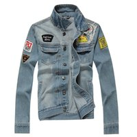 Wholesale Korean Short Sleeve Denim Men - Denim Jacket Men Cave Korean Jeans Slim Embroidery Cowboy Coat Plus Size Jeans Jackets Spring Coats Autumn Overcoat 2017 3xl 2xl