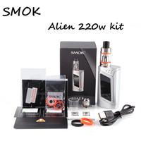 Wholesale Vw E Cigarette - Top quality E-cigarette Kit Smok Alien Kits VW TC 220W Box Mod 3ml TFV8 Baby Beast Tank V8 Baby-Q2 T6 X4 T8 Coil