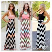 Wholesale Halter Empire Waist Dresses - 2017 New Fashion Long Dress Womens Dress Sleeveless Halter Waves Striped Dresses Beach Party Maxi Patchwork High Waist Dress