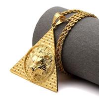 Wholesale Titanium Bling - 2017 Necklace Egyptian Pyramid Lion Head Pendant Titanium Steel Gold Color Bling Charm Chains Women Men Lucky Hip Hop