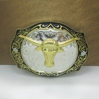 Wholesale Bull Buckles - BuckleHome Fashion bull head belt buckle with silver and gold finish plating FP-03656 free shipping
