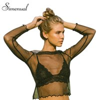 Wholesale Ruffles Shirt - Wholesale- Simenual Mesh ruffles t-shirts women tops streetwear hollow out sexy hot crop top see through black summer t shirt short clothes