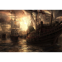 Wholesale Photography Backdrops For Kids - Pirate Ships Ocean Photography Backgrounds Nightfall Sunset Scenery Children Kids Photo Shoot Backdrop for Studio Digital Stage Backdrops