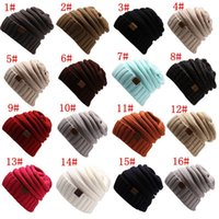 Wholesale Purple Label - 1pcs Unisex CC Trendy Hats Winter Knitted Beanie Label Winter Knitted Wool Cap Unisex Folds Casual CC Beanies Hat Solid Hat F21